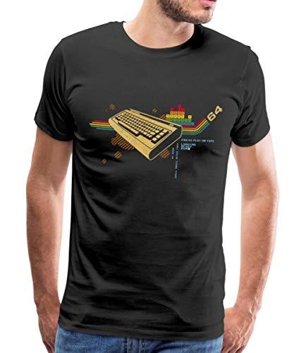 Spreadshirt Retro Tastatur 64 Geek Männer Premium T-Shirt, XXL, Schwarz