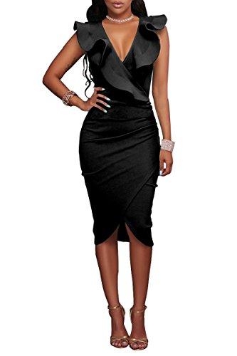 YMING Damen Volant Kleid Bodycon Bleistiftkleid Sexy Partykleid Elegante Bleistiftkleid,Schwarz,L/DE...