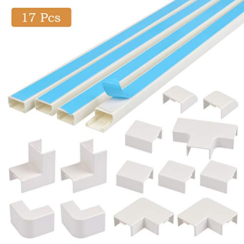 OFNMY Kabelkanal PVC Kabelabdeckung Selbstklebender Gerader Verbinder Innenbogenverbinder äußerer Winkelverbinder T Stecker Flachbogen(17 Stück)