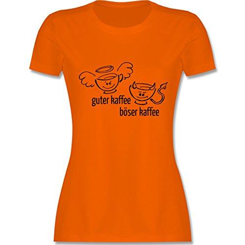 Küche - Guten Kaffee Böser Kaffee - tailliertes Premium T-Shirt mit Rundhalsausschnitt für Damen Orange