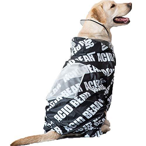 XDYFF Haustier Regenmantel mit Hauben Wasserdichten Jacken Coats Wasserdichter Regenmantel für Kleine Medium Large für Große Hunde Adorable Hoodie Kostüme,Black,7XL