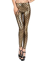 Timbre Imported Mermaid Legging Gold 3 D Printed Fish Scale Leggings