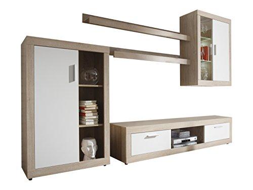 Maisonnerie 1498-947-41 Ensemble Meuble TV Design Ocean Blanc/Chêne Claire LxHxP 293x188x44 cm