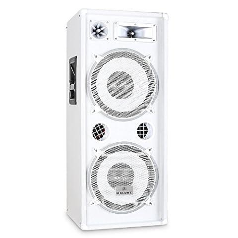 Malone PW-2222 Enceinte DJ PA Sono Pro Haut-parleur Disco (3 voies, Subwoofer 2x 38cm/15 pouces, montage sur pied) 1000W- Blanc