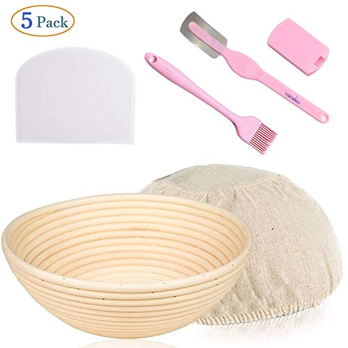 Eulan 9.8 Inch Round Bread proofing Basket Dough Proofing Rising Rattan Basket Bread Lame Set with Bread Basket Liner Lame Dough Scraper Brush for Professional and Home Bakers Artisan Bread Making Food Basket Liner