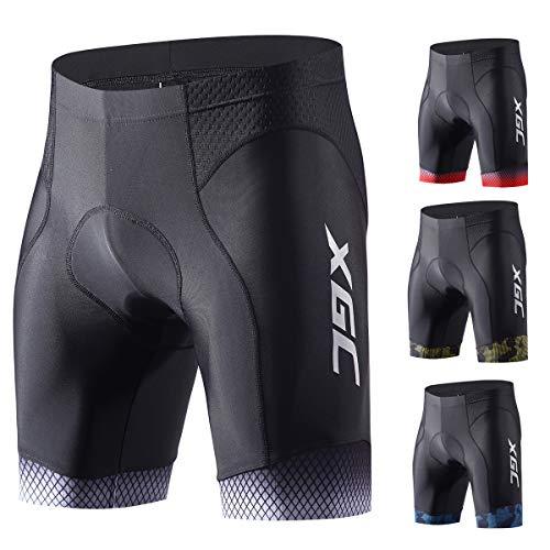 XGC Herren Kurze Radlerhose und Radunterhose Radsportshorts Fahrradhose für Männer elastische atmungsaktive 3D Schwamm Sitzpolster mit Einer hohen Dichte (Grey, S)