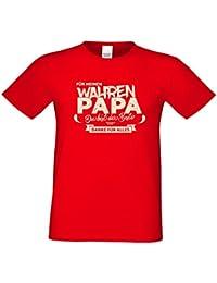 Für meinen wahren Papa : Geschenk-Set : Herren T-Shirt und Urkunde : Geschenkidee Vatertag Vatertagsgeschenk Stiefvater Adoptivvater : Übergrößen bis 5XL Farbe: rot