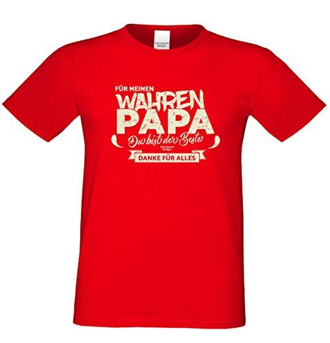 Herren T-Shirt als Vatertagsgeschenk Geburtstagsgeschenk :-: Für meinen wahren Papa :-: Geschenkidee für Ihren Adoptivvater Stiefvater Geburtstag Vatertag Weihnachten Farbe: rot Rot