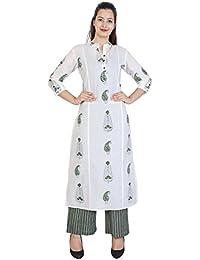Bright Cotton Women's Straight Kurta Palazzo Set (White)