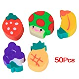 RuiChy 50pcs Lovely Environment-Friendly Mini Fruit-Shaped Colorful Erasers