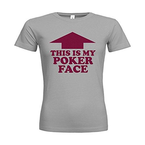 -Shirt This Is My Poker Face 20drpt15-w00412-417 Textil pacificgrey / Motiv bordeaux / Gr. M (Poker Face Kostüm)