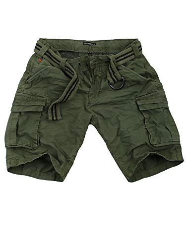 Sublevel Cargo Shorts Herren Kurze Hose Cargohose Bermuda Sommer Jeans (Middle Green - H-61740, W34)