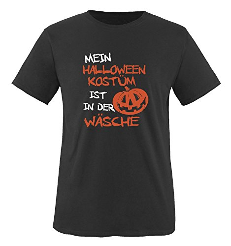 Hand Master Kostüm (Comedy Shirts - MEIN HALLOWEEN KOSTÜM IST IN DER WÄSCHE KÜRBIS - Herren T-Shirt Schwarz / Weiss-Orange Gr.)