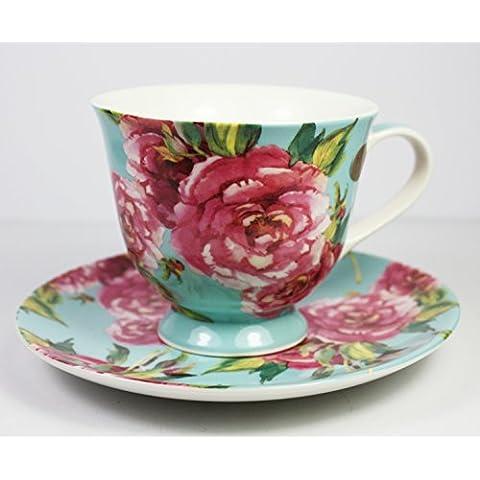 Rosa, Chintz color Tazza e piattino per tazza (Blu), da