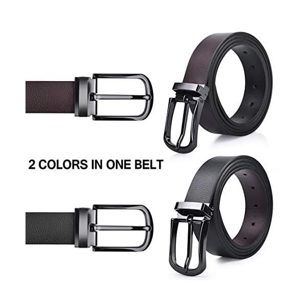NUBILY Cintura Uomo Pelle Nero Marrone Reversibili Cinture da Uomo Della Di Cuoio Fibbie Cintura Casual Formali Elegante… 2 spesavip