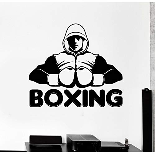 Club Boxer (Design Vinyl Wall Decal Boxing Club Words Boxer Sports Stickers Mural Background Wall Decor Teens Bedroom Wall Sticker 63x56cm)