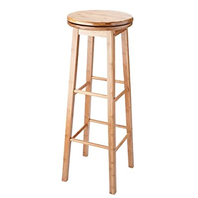 VonHaus Revolving Bamboo Wood Kitchen / Bar Stool - Tall (92 cm) Free 2 Year Warranty - low-cost UK bar stool store.