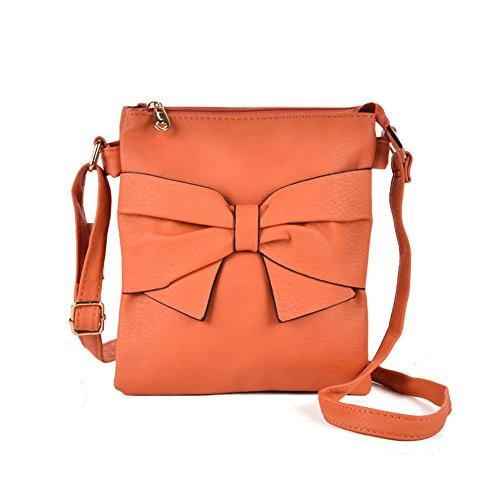 SALLY YOUNG Fashion Women PU Leather Zip Top Cross Body Bag With Bow (orange) (Zip-handtasche Top)