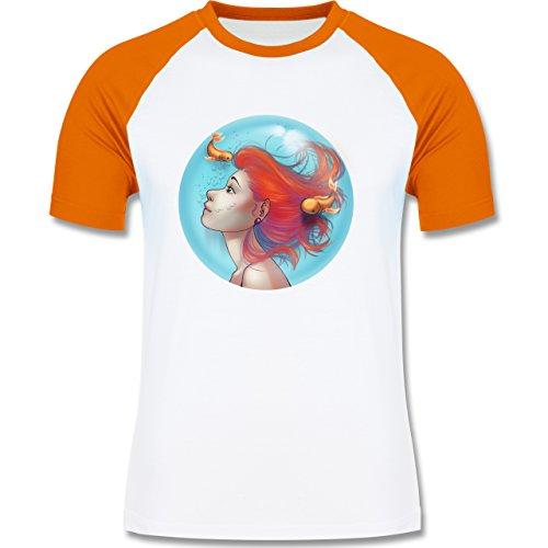Statement Shirts - Unterwasser - Meerjungfrau - zweifarbiges Baseballshirt für Männer Weiß/Orange