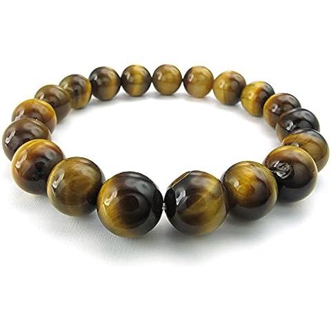 KONOV Joyería Pulsera de hombre, 12mm Natural Energía Piedras Bola, Ojo de Tigre, Color marrón (con bolsa de regalo)