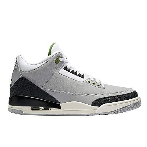 Nike Herren Air Jordan 3 Retro Fitnessschuhe Mehrfarbig (Lt Smoke Grey/Chlorophyll/Black/White 006) 44.5 EU