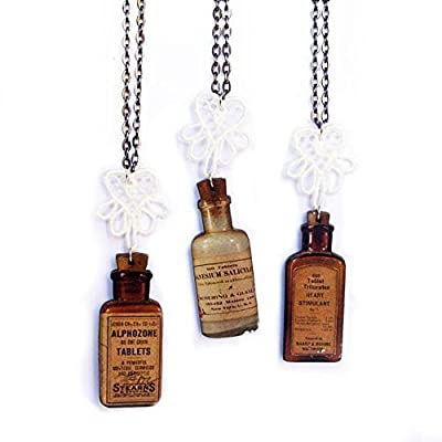Bijoux en bois - Fiole ancienne medicament bouteille pharmacie flacon apothicaire - Cadeau infirmière médecin pharmacienne - collier ou boucles d'oreille