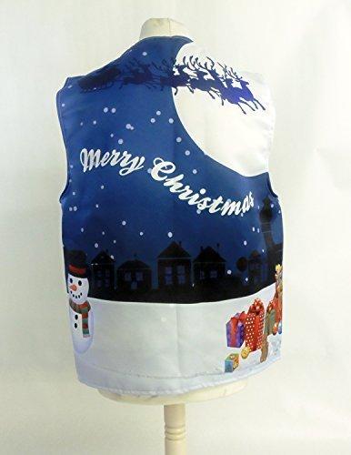 L&S PRINTS FOAM DESIGNS Christmas Village blau Design Weste Fun & Fancy für alle Anlässe Festival Parteien erhältlich S, M, L, XL, Größen erhältlich (X Groß ()