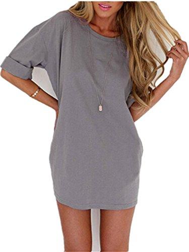 Minetom Femmes Casual Blouse Tops A-ligne mini Robe T-shirt col Rond Robe de Plage D'été Gris