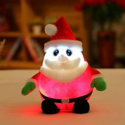 Weihnachten niedlich Design Weihnachtsmann Glow LED Kissen Licht weichen Kissen Geschenk Plüsch Sensation Luminous Singing Music Weihnachtsmann Kissen Puppe Plüsch Kissen 30cm HKFV (A)