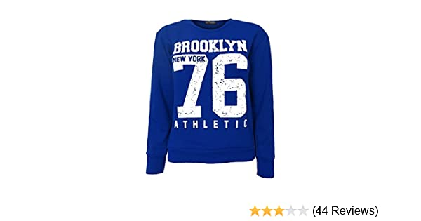 Kids Girl Brooklyn 76 Newyork 98 Print Crew Neck Long Sleeve Pullover Sweatshirt