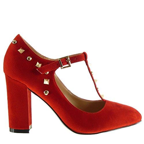 Angkorly Damen Schuhe Pumpe - T-Spange - Dekollete - Nieten - Besetzt - Schleife Blockabsatz High Heel 9 cm Rot