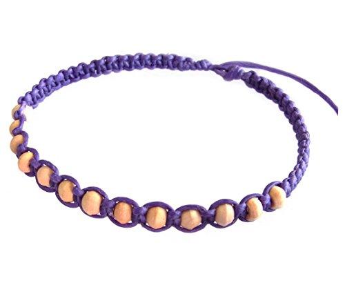 Artisan Handgefertigt Unisex Modische Armband Weiß Holz Beads Lila Wachs Schnur