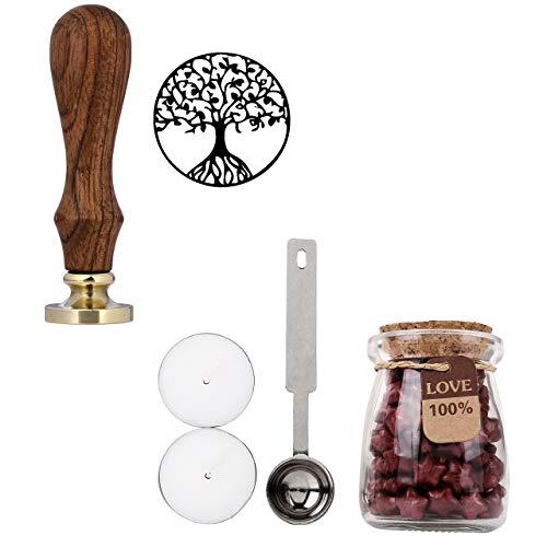 Mogoko Sigillo + Ceralacca in forma di Stella + Cera + Cera Stick Spoon Francobolli Vintage Kit per Lettera Personalizzata Timbri Personali REGALO SET - Rosso Ruggine