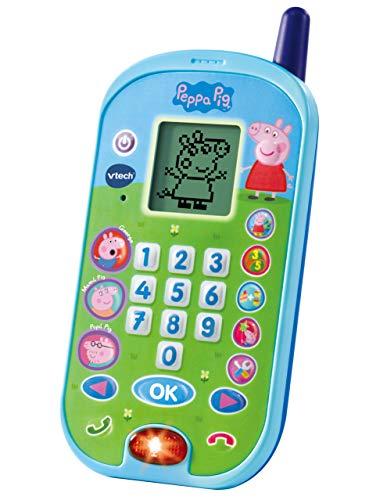 VTech-El teléfono móvil electrónico Interactivo Que simula conversación telefónica con el niño y Las Voces de Todos los Personajes de la Familia Peppa Pig, Color (3480-523122)