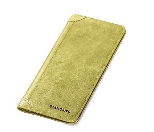 hoom-retro-cell-phone-wallet-grand-zip-autour-de-portefeuille-cuirgreen