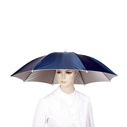 Stahlblau-Silber-Ton 8 Rippen Angeln Golf Sonne Regen Regenschirm-Hut-Kappe