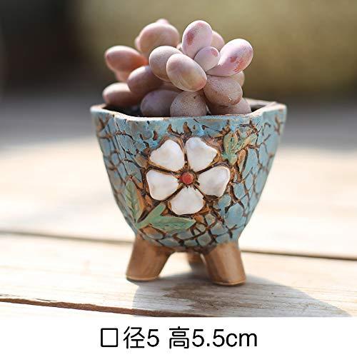 Kleine Bean Pot (LUOSHEN Moderne Pflanzer Vintage Sukkulenten Blumentopf Keramik Hand bemalt Steinzeug Bunte Töpfe, Bohnen Töpfe 4, Kleine 5 * 5,5 cm)
