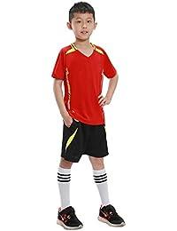 KINDOYO Venta Adultos y Niños Juego de Entrenamiento de Fútbolde Secado Rápido de Manga Corta Kit de Camiseta…