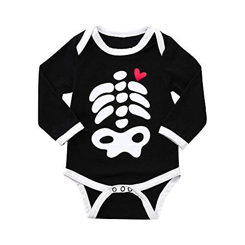 Cloom Säugling Baby Kleidung Jungen Baby Mädchen Halloween Kostüm O-Hals Lange Ärmel Knochen Drucken Spielanzug Overall Kleider 6-18 Monate Baby Jumpsuit Bodysuit(Schwarz,6)