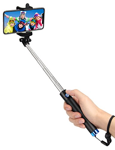 Selfie Stange Bluetooth Selfie Stick kungfuren Ausziehbar und Kompaktes Einbeinstativ mit 50h Batterie für iPhone 7 7+ SE 6s 6+ Samsung Galaxy S7 Edge S6 Edge Note 5/4 LG G5 - Touch Handschlaufe 5 Ipod