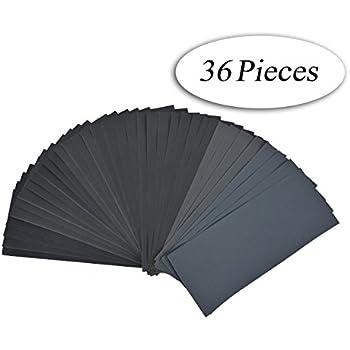DEDC Lot de 36 Papier de Verre Papier Abrasif 228x91mm à Sec à l'Eau 400 600 800 1000 1200 1500 2000 2500 3000 4 Feuilles/Grain
