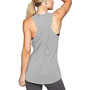 Aibrou Damen Kreuz Rücken Yoga Sport T-Shirt Tank Top Racerback Trainingskleidung