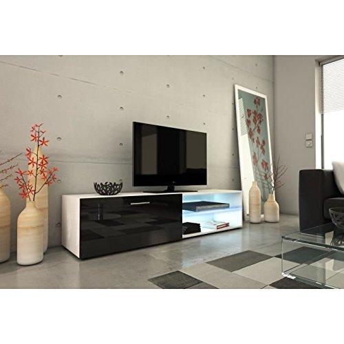 Kora meuble tv 160cm avec éclairage led - noir brillant