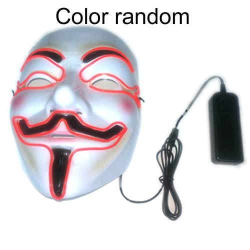 JullyeleDEgant Mode LED Leucht Maske Maskerade Maske Horror Terror Kaltlicht Maske Halloween Festival Party Kostüm Spielen Prop
