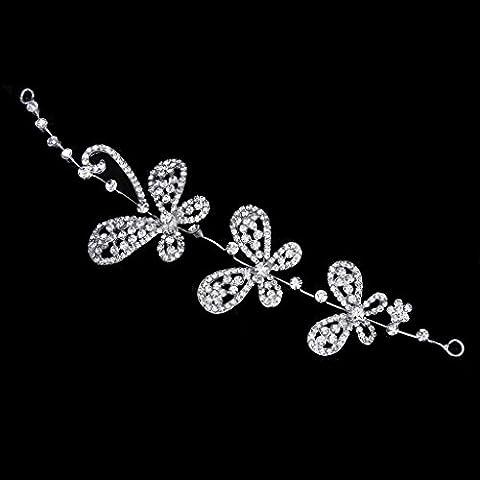 Gleader tocados tiara de boda de dama de honor nupcial Diamante mariposa del Rhinestone de la venda