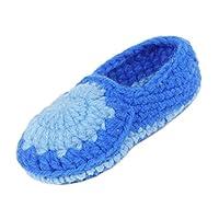 Bigood Newborn Baby Boy Girl Infant Crochet Boat Shoes Slippers Prewalker Blue