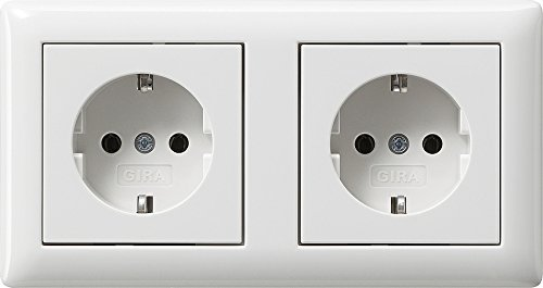 Preisvergleich Produktbild Gira Serie Standard 55 Steckdosen Komplett-Sets Reinweiß SEIDENMATT