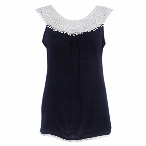 QIYUN.Z Donne Di Modo Signore Estate Casuale Maglia Del Crochet Maniche Patchwork Supera La Camicetta Blu scuro