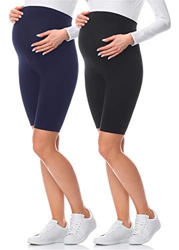 Be Mammy Premamá Leggins Cortos Embarazo Lactancia (Set de 2)(Negro/Azul Oscuro(2Pack), 42 (Tallas del Productor: XL))