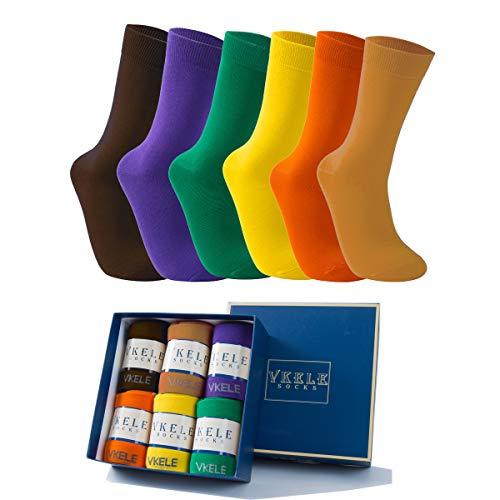 Vkele 6 Paar einfarbig Socken in Geschenkverpackung, bunt Herrensocken, Baumwolle, Crew Socken, Braun, Organe, Dunkelgelb, Gelb, Grün, Lila, 43 44 45 46